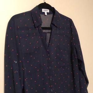 Express Tops - Blue Express Portofino Shirt with red hearts